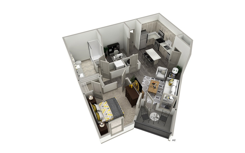 A2 - 1 bedroom floorplan layout with 1 bath and 668 to 725 square feet. | Cropped | Inspire
