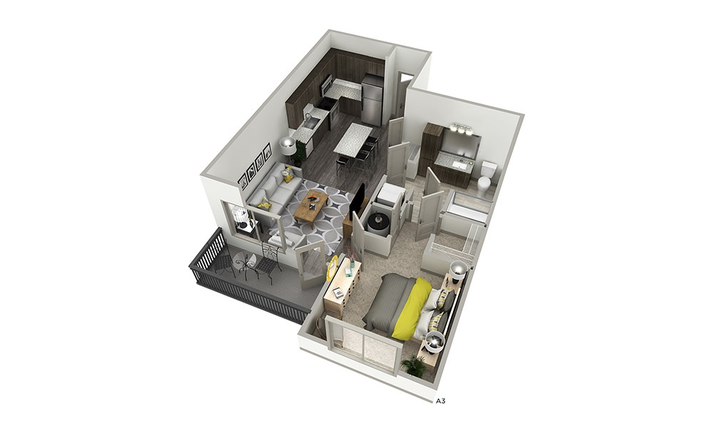 A3 - 1 bedroom floorplan layout with 1 bath and 741 to 777 square feet. | Cropped | Inspire