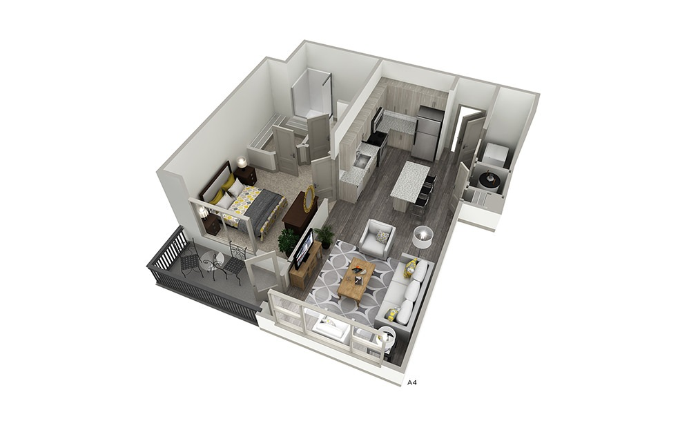 A4 - 1 bedroom floorplan layout with 1 bath and 667 square feet. | Cropped | Inspire