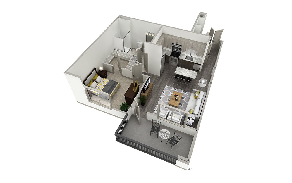A5 - 1 bedroom floorplan layout with 1 bath and 723 square feet.