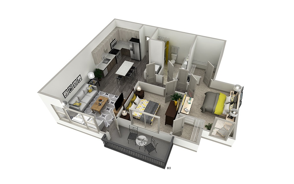 B3 - 2 bedroom floorplan layout with 1 bath and 887 square feet. | Cropped | Inspire