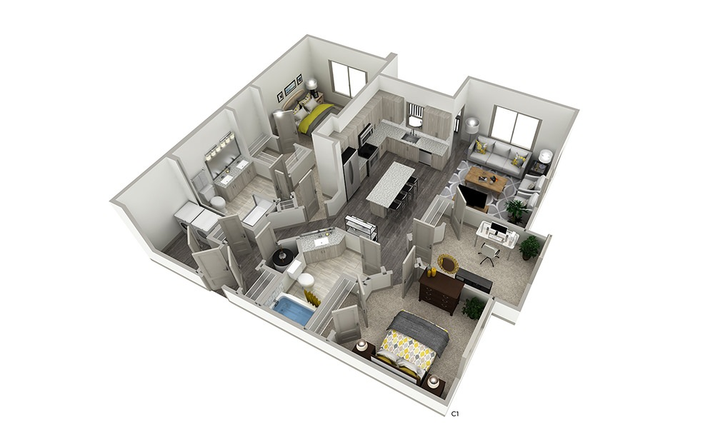 C1 - 3 bedroom floorplan layout with 2 baths and 1170 square feet.