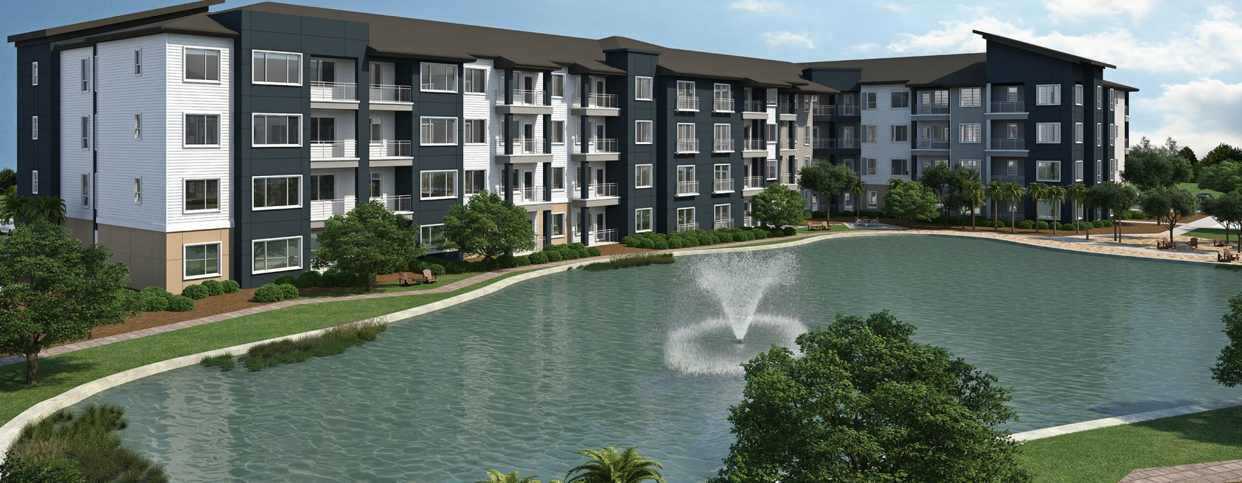 Exterior Rendering of Inspire Apartments with Pond | Inspire
