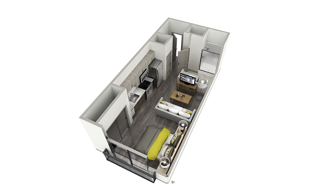 S1 - Studio floorplan layout with 1 bath and 424 square feet.