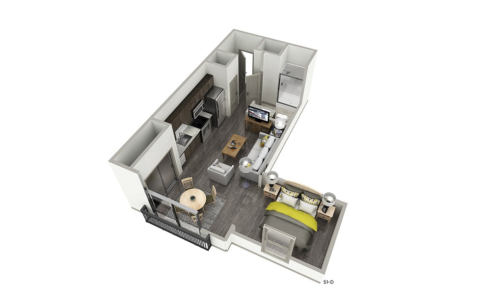S1D - Studio floorplan layout with 1 bath and 424 square feet.